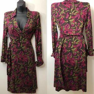 DIANE VON FURSTENBERG silk Floral wrap DRESS SZ 8